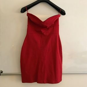 AQUA red curvy strapless mini dress sweetheart